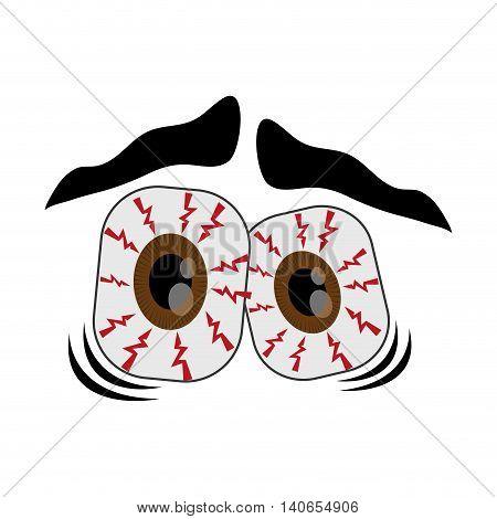 flat design frightened cartoon eyes icon vector illustration