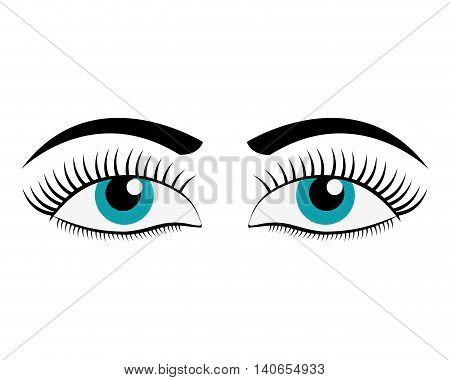 flat design female cartoon eyes icon vector illustration