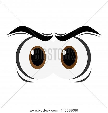 flat design angry cartoon eyes icon vector illustration