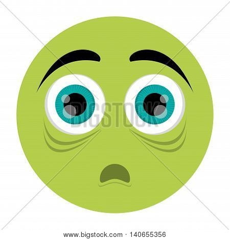 flat design scared face emoticon icon vector illustration