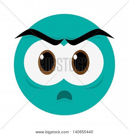 flat design angry face emoticon icon vector illustration