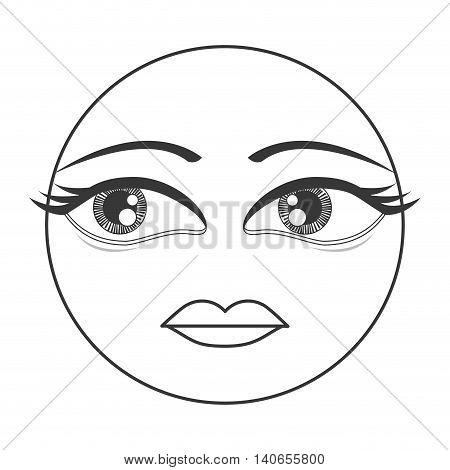 flat design femenine face emoticon icon vector illustration