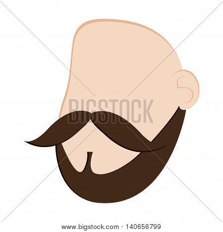 flat design faceless man head with facial hair icon vector illustration