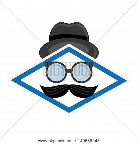 flat design hat glasses and mustache icon vector illustration