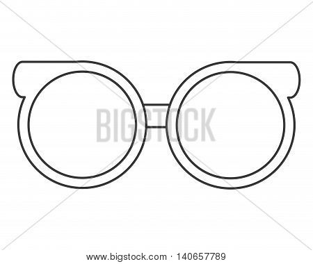 flat design round frame glasses icon vector illustration