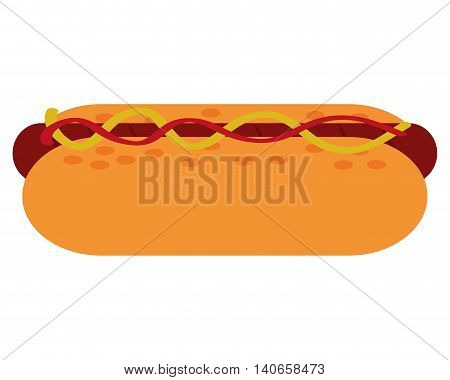 flat design hot dog icon vector illustration