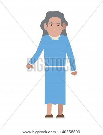 flat design senior woman icon vector illustration