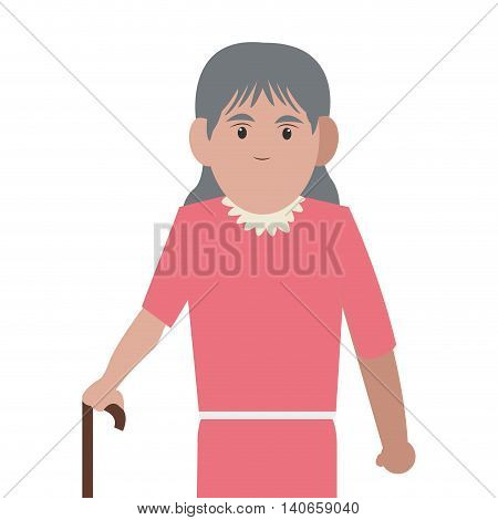 flat design senior woman with cane icon vector illustration