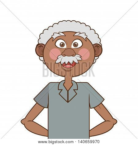 flat design dark skin senior man icon vector illustration