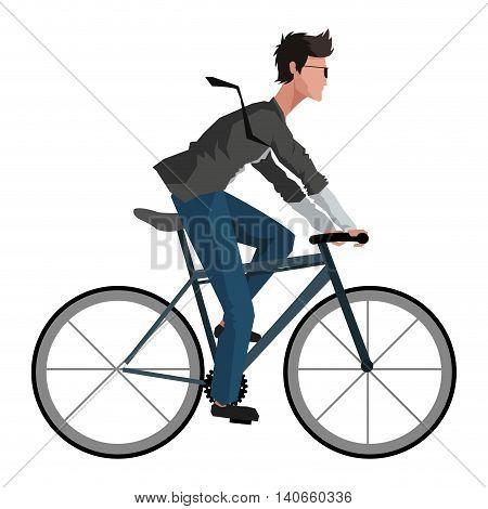 flat design man riding bike icon vector illustration