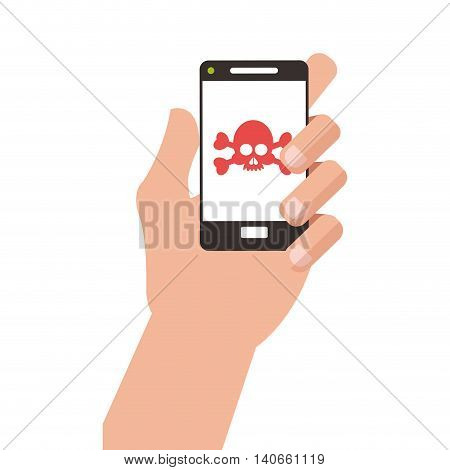 flat design hand holding modern cellphone with skull and bones on screen icon vector illustration