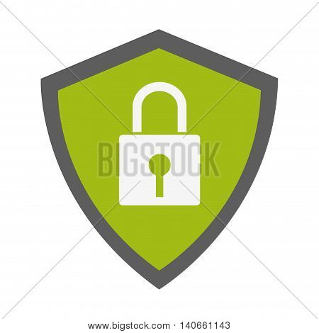 flat design safety lock in shield icon vector illustration