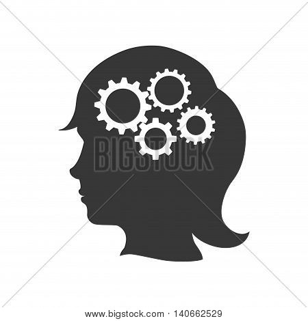Machine part concept represented by gear icon inside female silhouette head. Isolated and flat illustration