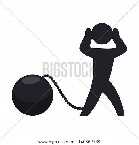 Pictogram concept represented by guilty and jail icon. Isolated and flat illustration
