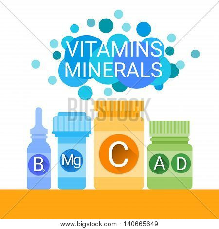 Bottle Of Essential Chemical Elements Nutrient Minerals Vitamins Flat Vector Illustration