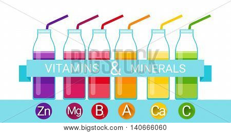 Vitamins Cocktail Bottle Essential Chemical Elements Nutrient Minerals Flat Vector Illustration