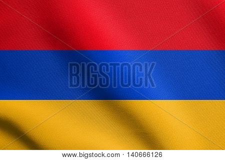 Flag of Armenia waving in the wind with detailed fabric texture. Armenian national flag.