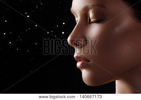Beautiful Model With Fashion Make-up. Close-up Portrait Sexy Wom