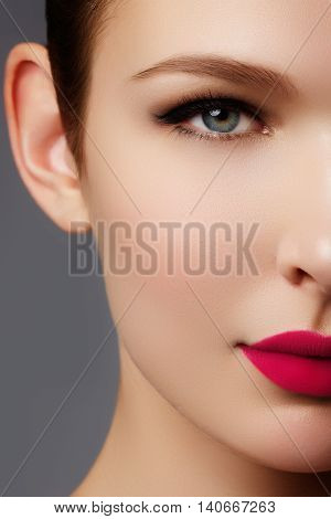 Beautiful Perfect Lips. Sexy Mouth Close Up. Beauty Young Woman