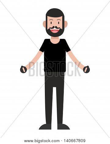 flat design man standing icon vector illustration