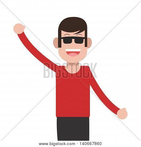 flat design man standing wearing glasses icon vector illustration