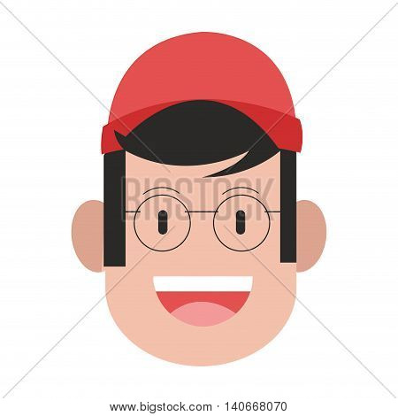 flat design face of manwith cap and glasses icon vector illustration