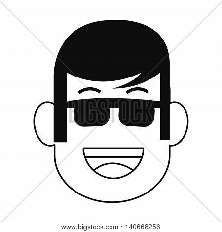 flat design face of man with sunglasses icon vector illustration