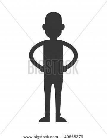 flat design man standing silhouette icon vector illustration
