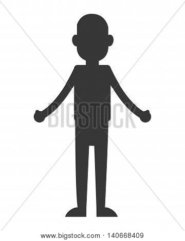 flat design man standing silhouette icon vector illustration