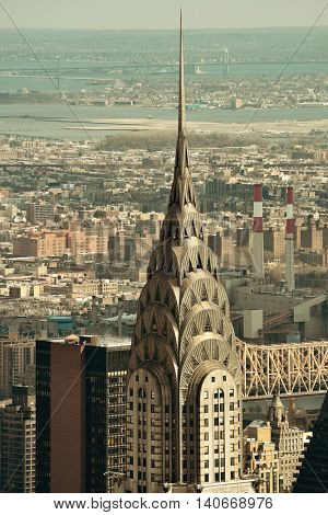 NEW YORK CITY, NY, USA - JUL 12: Chrysler Building closeup on July 12, 2014 in Manhattan, New York City. It was designed by William Van Alena as Art Deco architecture and the famous landmark.
