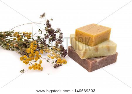 Natural soap isolated. Soap and dried flowers.