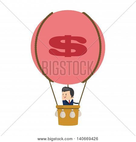 flat design businessman on hot air balloon icon vector illustration