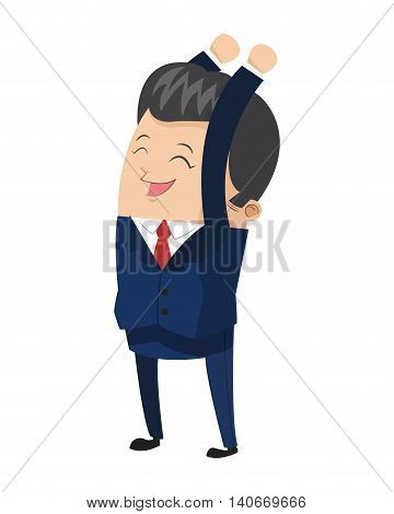 flat design cute businessman with arms up icon vector illustration