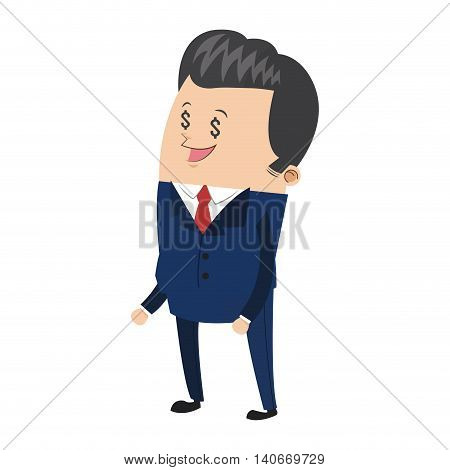 flat design cute businessman with dollar sign eyes icon vector illustration