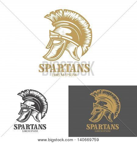 Spartan helmet. Design elements for logo label emblem sign brand mark poster. Vector illustration.