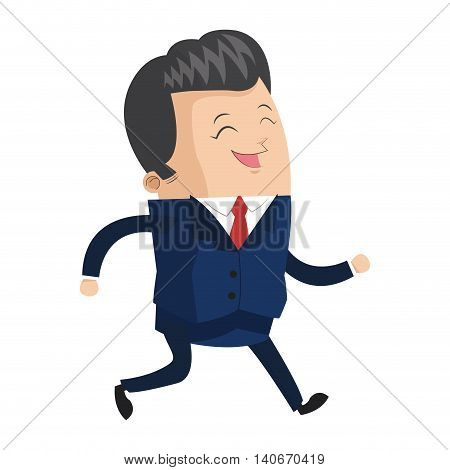 flat design cute businessman laughing icon vector illustration