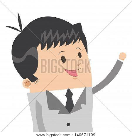 flat design cute businessman icon vector illustration