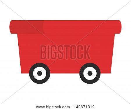 flat design toy wagon icon vector illustration