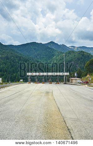 Multiple lane toll barrier in  highway Greece