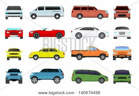 Car type and model objects icons set multicolor automobile supercar. Wheel symbol car types coupe hatchback. Traffic collection showroom camper car types minivan flat mini automotive.