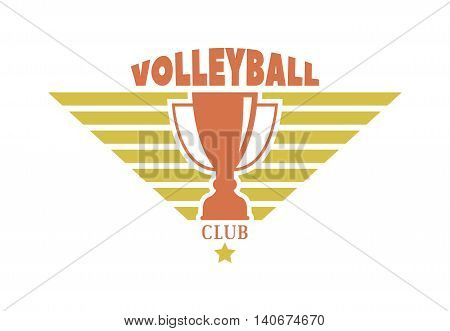 Template logo for volleyball sport team with sport sign and symbols. Tournament competition graphic champion sport team logo badge icon. Vector club game volleyball sport team logo badge.