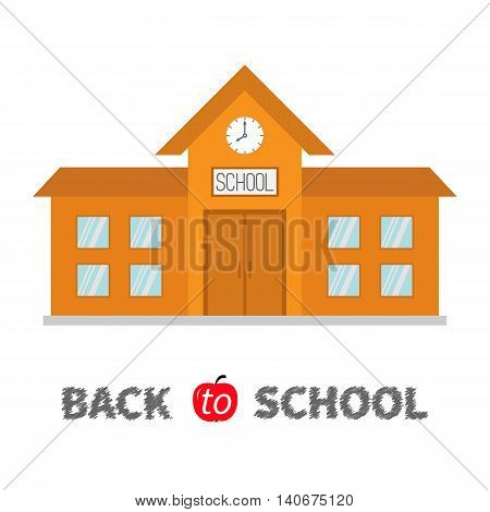 Back to school. School building with clock and windows. City construction. Cartoon education clipart collection. Flat design. White background. Isolated. Vector illustration