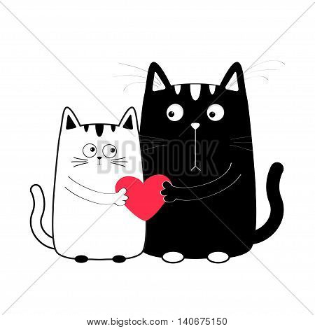 Cute cartoon black white cat boy and girl holding red heart. Kitty couple on date. Big mustache whisker. Funny character set. Happy family. Love greeting card Flat design Isolated. Vector illustration
