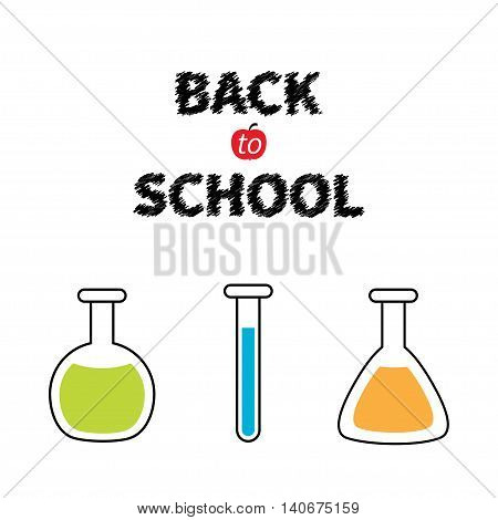 Back to school. Science lab glass set. Laboratory jar. Chemistry flask bulb beaker test-mixer graduate. Greeting card. Education concept. Flat design. Isolated White background. Vector illustration
