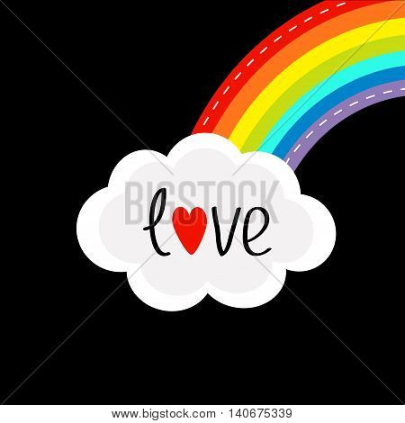 Rainbow on the corner and cloud in the sky. Dash line. Love card. LGBT sign symbol. Flat design. Black background. Vector illustration.