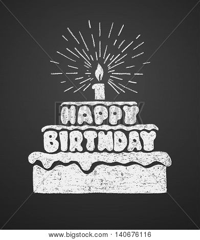 Cake with a candle and happy birthday text. Vector illustration on the chalkboard. Eps8. RGB. Global colors