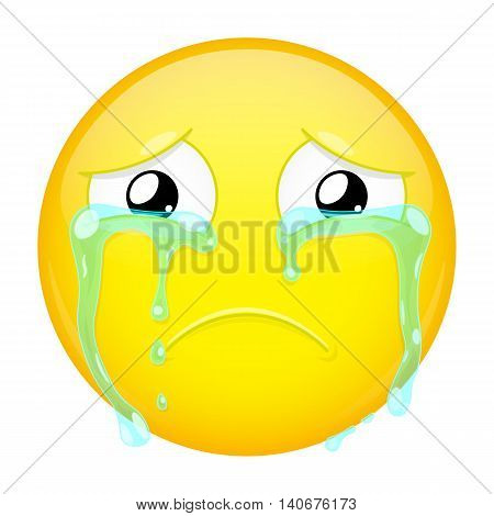 Sad crying emoji. Bad emotion. Weeping emoticon. Vector illustration smile icon.
