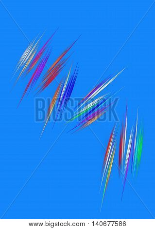 Abstract computer generated fractal. Colorful chaos lines on blue background.