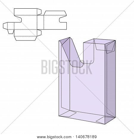 Vector Illustration of Diecut Craft Box for Design, Website, Background, Banner. Retail Folding package Template. Fold pack with dieline for your brand on it poster