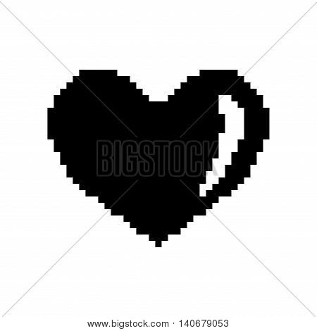 Sign pixel heart. Image of love. Black icon isolated on white background. Monochrome romantic symbol. Logo for game. Light health content. Mark of valentine. Stock vector illustration